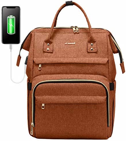 Laptop Backpack for Women Fashion Travel Bags Business Computer Purse Work Bag with USB Port, Orange