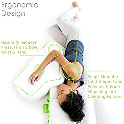 Sleep Yoga Side Sleeper Arm Rest Posture Pillow - Chiropractor-Designed Side Sleeper Pillow to Improve Posture, Flexibility, and Sleep Quality