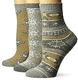 Muk Luks Women's 3 Pair Pack Holiday Boot Socks, mocha mousse pack, OSFM