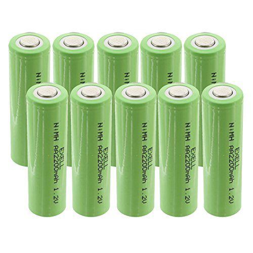 10-PACK Exell 1.2V AA 2200mAh Rechargeable NIMH Flat Top Batteries use with electric razors toothbrushes high power static applications (Telecoms UPS and Smart grid) electric tools electric mopeds