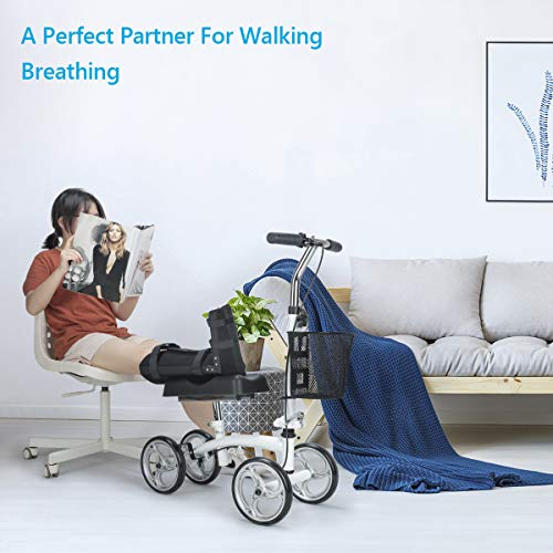 OasisSpace Small Size Lightweight Knee Scooter Walker,Compact and Portable Knee Walker Crutches Alternative for Foot Injuries Support up to 250LBS (White) deal 50% off 51zwRaELE5L