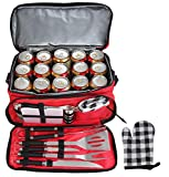 POLIGO 12pcs Stainless Steel BBQ Grill Tools Set with Red Insulated Waterproof Storage Cooler Bag for Camping - Outdoor Barbecue Grilling Accessories Set Ideal Father's Day Birthday Gifts for Dad Men