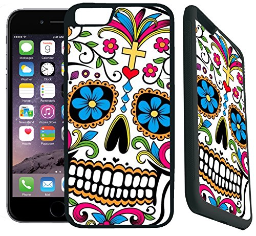 [TeleSkins] - iPhone 7 Rubber TPU Case -Sugar Skull Dia De los Muertos - Ultra Durable Slim Fit, Protective Plastic with Soft RUBBER TPU Snap On Back Case / Cover. Fits (4.7 inch only)