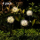 Solar Garden Lights Outdoor, 4 Pack Warm White Solar Powered Decorative Stakes Night Lights with Dandelion Flower, LED Landscape Lighting for Garden/Yard/Lawn/Patio/Walkway/Driveway/Backyard