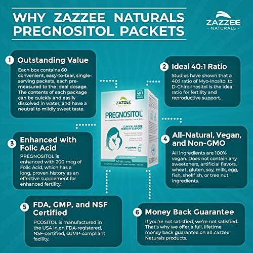 Zazzee PREGNOSITOL, 60 Day Supply, Premium Myo-Inositol, D-Chiro-Inositol, and Folic Acid Blend, Ideal 40:1 Ratio, 60 Easy-Tear Packets, Vegan, All Natural and Non-GMO 2