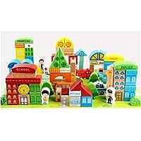 Blocchetti di costruzione in legno, 100 pezzi di grandi dimensioni XXL per bambini dai 2 anni. Per ragazze e ragazzi. Grande regalo Giocattolo in legno, giocattoli colorati con tappetino da gioco
