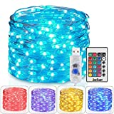 2 Pack Hometarry LED String Lights,Battery Operated Lights Multi Color Changing String Lights Remote Control Waterproof 50LED 16.4ft Indoor Decorative Silver Wire Lights for Bedroom, Easter Lights ¡­
