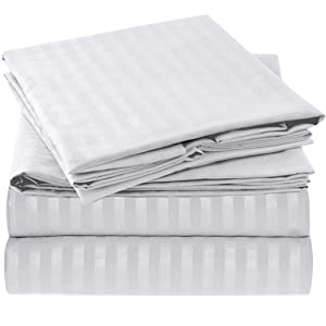 Harmony Linens Striped Bed Sheet Set - 1800 Double Brushed Microfiber Bedding - Deep Pocket, Hypoallergenic - Wrinkle, Fade, Stain Resistant Sheets - 4 Piece (Queen, White)