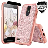 TJS Case for LG Aristo 2/Aristo 2 Plus/Aristo 3/Aristo 3 Plus/Tribute Dynasty/Tribute Empire/Fortune 2/Rebel 3 LTE [Full Coverage Tempered Glass Screen Protector] Glitter Girls Women Phone (Rose gold)