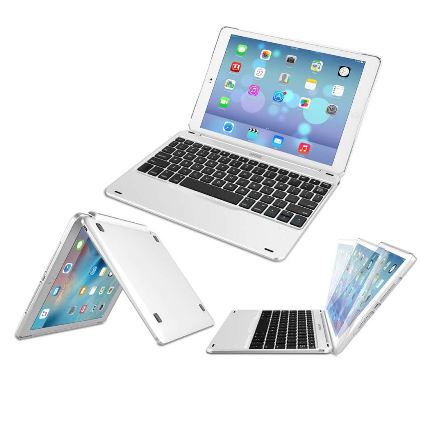 iPad 9.7-inch (iPad 6, 2018 / iPad 5, 2017) Keyboard, Arteck Ultra-Thin Bluetooth Keyboard with Folio Full Protection Case for Apple iPad 9.7 iPad 6, 5 and iPad Air 1 with 130 Degree Swivel Rotating