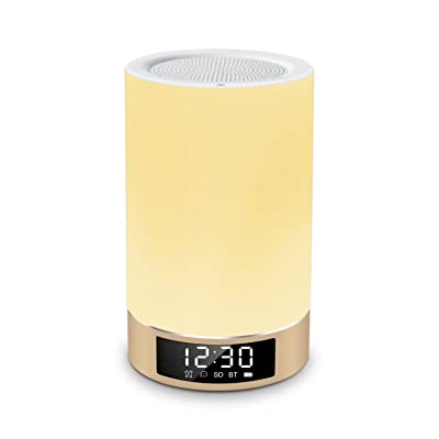 Lightstory 多機能 Bluetooth ワイヤレス スピーカー 高音質 ロマンチック カラー ナイトライト 電気スタンド 指先タッチ式 LED 時間表示 目覚まし アラーム ハンズフリー 電話受話 TFカード 音楽再生 タイマー スリープライト ゴールド
