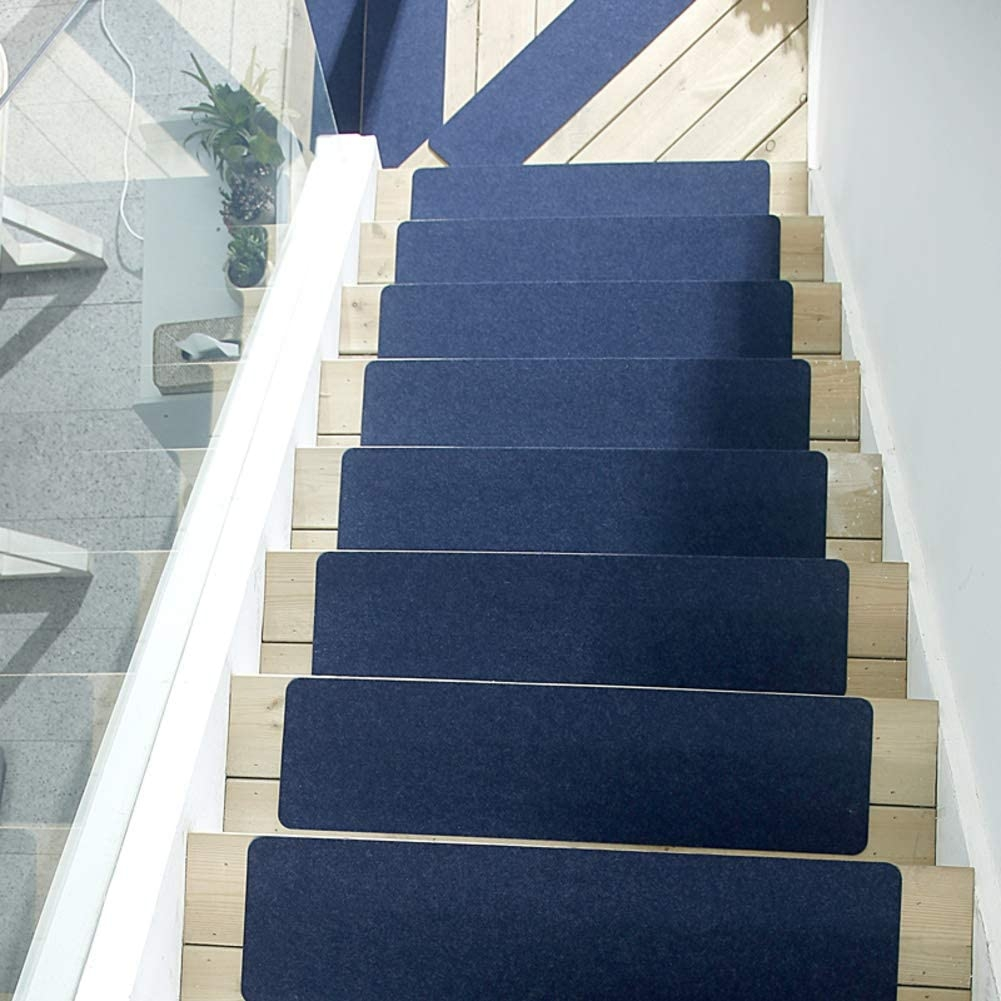 Amazon Com Qtdz Non Slip Stairs Rug Home Stair Mats Treads | Navy Carpet On Stairs | Wooden | Loop Pile | Wall To Wall Carpet | Dark Blue | Geometric
