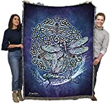 Pure Country Weavers Celtic Dragonfly Blanket and Woven Large Soft Comforting with Artistic Textured Design 60x50 Cotton USA