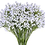 "Supla Pack 2 Baby's Breath Artificial 14 Forks,Total of 882 White Blooms Babys Breath Bulk Flower Bush Gypsophila Artificial in White -15.7"" Tall for Wedding Wreath Boutonniere Flower Crown"