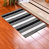 Ukeler Cotton Indoor Outdoor Rug, Black/White Striped Runner Rugs for Kitchen, Living Room, Entry Way, Laundry Room, Bedroom, 23.6''x51.2''