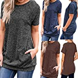 Product review of Maonet Women Casual Short Sleeve Round Neck Pockets Loose Tunic T Shirt Blouse