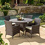 Christopher Knight Home 295849 Deal Furniture Clementine Outdoor 5pc Multibrown Wicker Dining S