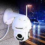 Youmeet WiFi IP Security Camera - 1080P Outdoor Waterproof Wireless PTZ Camera with Night Vision,CCTV Home Surveillance Cameras,2 Way Audio Motion Detection,for Backyard/Office/Shop/School/Hospital