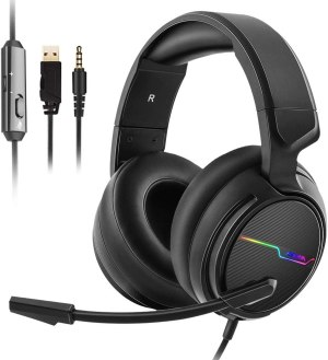 Jeecoo Xiberia Stereo Gaming Headset for PS4, Xbox One S – Noise Cancelling Over Ear Headphones with Microphone – LED Light Soft Earmuffs Bass Surround Compatible with Xbox One PC Laptop Switch Games