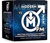 Modern Man PM Fat Burner - Sleep Aid, Weight Loss & Testosterone Booster for Men, Best Night Time Metabolism Booster & Caffeine Free Sleep Supplement   Burn Belly Fat & Build Lean Muscle, 60 Pills