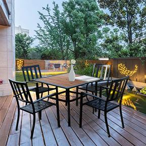 EMERIT-Outdoor-Patio-Dining-Table-Square-Metal-Table-with-Umbrella-Hole-and-Wood-Like-Tabletop