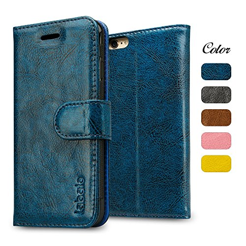 iPhone 6S Plus Case, Labato Wallet 6S Plus Genuine Leather Folio Flip Case Cover Magnetic Stand Function with Card Slots/Cash Compartment for Apple iPhone 6 Plus/ 6S Plus 5.5'- Blue (lbt-I6U-05Z46)