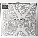 Tahari Home Luxury Bohemian Duvet Cover Luxury Boho Style Medallion Print in Blue Grey 3 Piece Bedding Set (Queen, Taupe)