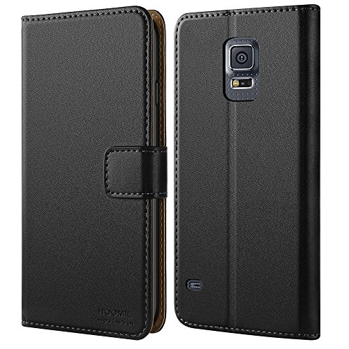 HOOMIL Case Compatible with Samsung Galaxy S5, Premium Leather Flip Wallet Phone Case Cover for Samsung Galaxy S5 (Black)