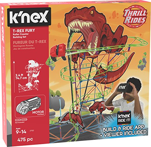 K'NEX Thrill Rides T-Rex Fury Roller Coaster Building Set With K'NEX Ride It! App