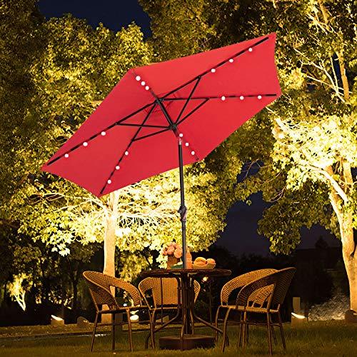 SUNNYARD Outdoor Solar Powered LED Lighted Patio Umbrella Aluminum Table Market Umbrella with Crank and Tilt (red)