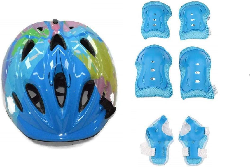 JERN 7 Pieces Kids Children Roller Skating Bicycle Cycling Scooter Helmet Knee Elbow Pad Wrist Guard Set(Blue)