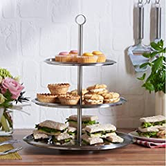 VonShef 3 Tier Cake Stand Stainless Steel To Display Cakes, Cupcakes, Cookies, Muffins - Party Wedding Display