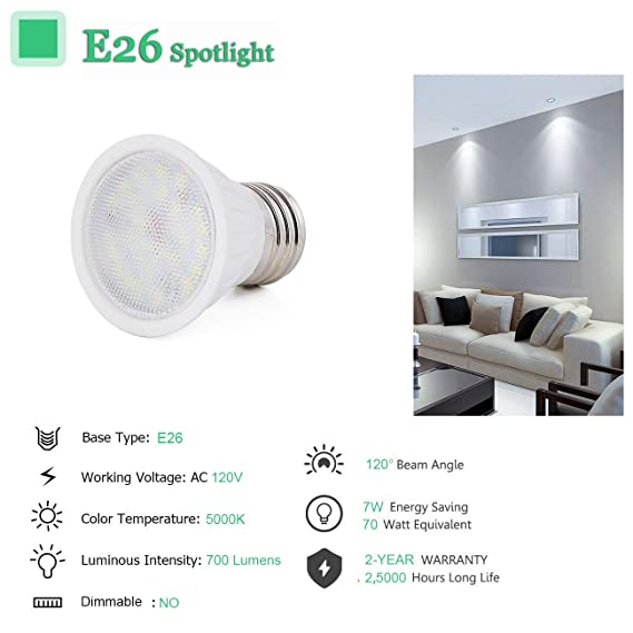 Daylight White 5000k Dimmable Led Par16 Light Bulbs Daylight White Color 5000k 10 Pieces Pack Ac