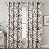 H.VERSAILTEX Window Treatment Thermal Insulated Printing Grommet Blackout Curtains Panels for Living Room 52 inch Width by 96 inch Length, 2 Panels, Floral Pattern in Sage and Brown