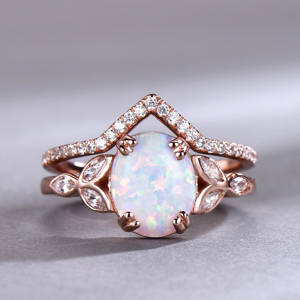 Amazon Com Opal Wedding Ring Set Opal Ring White Fire Opal Floral Engagment Ring Rose Gold Plated Unique Curve Wedding Band Silver Bridal Ring Set Handmade