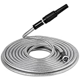 BEAULIFE 304 Stainless Steel Metal Garden Hose with Nozzle-Flexible, Portable & Lightweight 25FT