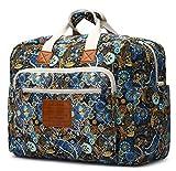 Malirona Women's Canvas Overnight Weekender Bag Carry On Travel Duffel Tote Bag Bohemian Flower (Black Flower)