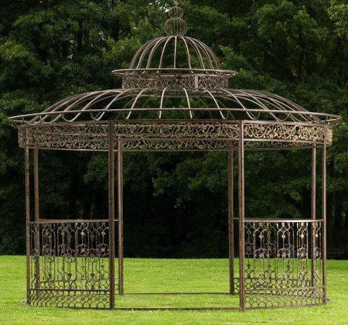 CLP Metall Pavillon ROMANTIK, rund, Höhe 350 cm, stabile Eisen Vierkantprofile Bronze von CLP