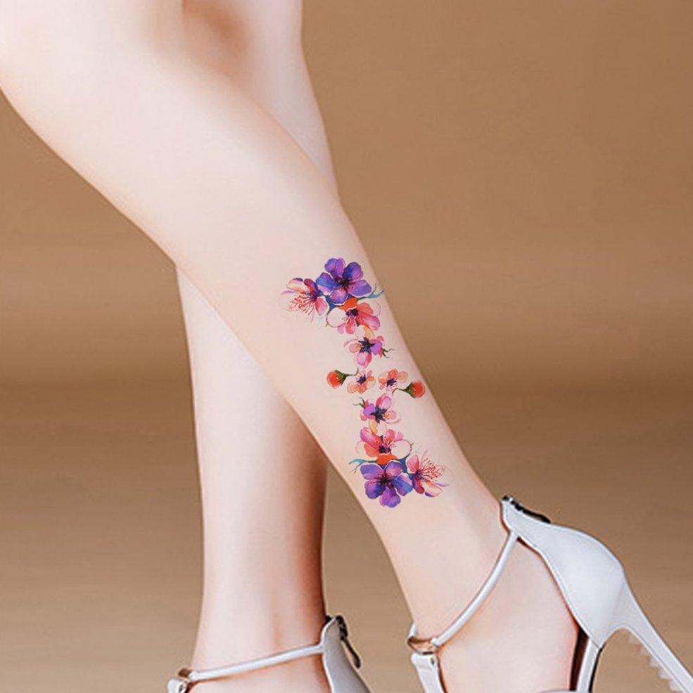 Tafly Flower Tattoo Small Body Art Transfer Leg Temporary Tattoo Sticker 5 Sheets