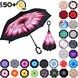 ABCCANOPY Inverted Umbrella,Double Layer Reverse Rain&Wind Teflon Repellent Umbrella for Car and Outdoor Use, Windproof UPF 50+ Big Straight Umbrella with C-Shaped Handle, Pink Flower