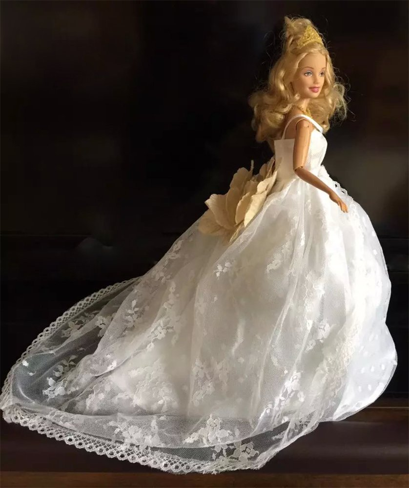 White Lace Flower Romantic Strapless Ball Gown Wedding Dress Clothes Fit 11.5 Inch Barbie Doll