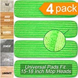 Microfiber Mop Pads Refill Pack - 4X Reusable Washable Mop Head Replacements Best Thick MF - Spray Wet Dust Dry Flat Velcro Attachment - Fits 14'-18' Bona, Bruce, Rubbermaid, Libman, Zflow + More