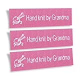 Wunderlabel Hand Knit by Grandma Nana Granny Crafting Fashion Woven Ribbon Ribbons Tag Clothing Sewing Sew on Clothes Garment Fabric Material Embroidered Label Labels Tags, White on Pink, 25 Labels