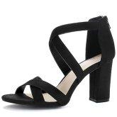 Allegra K Women Crisscross Strappy Open Toe Heeled Sandals (Size US 7) Black