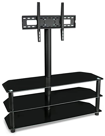 Mount It Tv Stand With Mount And Glass Shelves For Flat Panel Televisions And