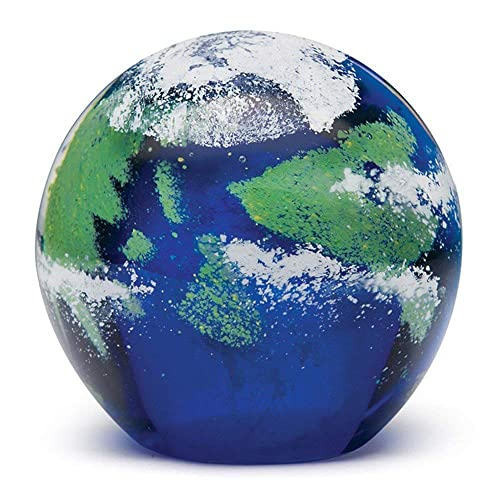 "Handmade Glass Paperweight - Earth Glow - 4"" Tall, One-of-a-kind. FREE SHIPPING to the lower 48 on orders over $35"