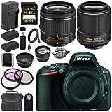 Nikon D5500 DSLR Camera with AF-P 18-55mm VR Lens (Black) + Nikon 55-200mm f/4-5.6G ED VR II Lens + EN-EL14 Replacement Lithium Ion Battery + External Rapid Charger + Carrying Case Bundle