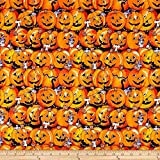 Santee Print Works Halloween Pumpkin Stripes Fabric, Orange/Pmk, Fabric By The Yard