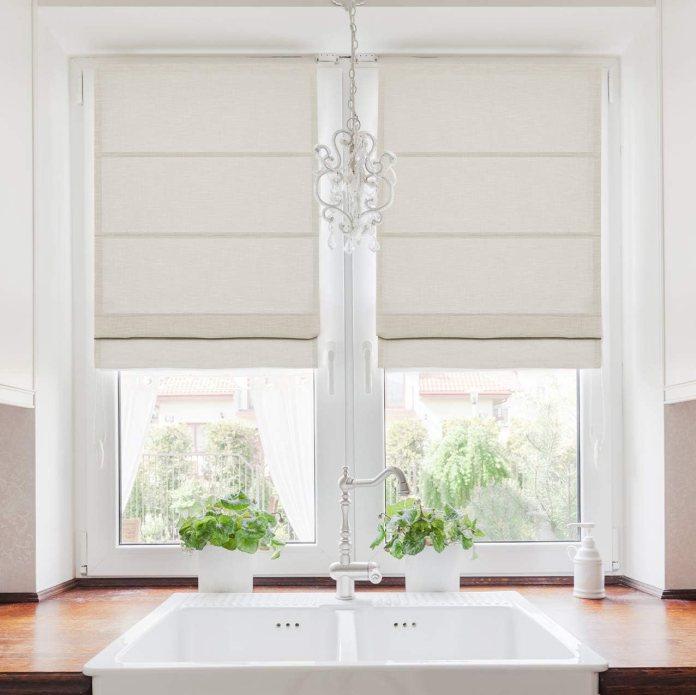 Roman shades for kitchen window