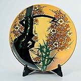 "Japanese drawn Ceramic Porcelain kutani ware. Plateau with wooden box. Big plate. Bamboo and plum."" Japanese ceramic Hagiyakiya 1210"